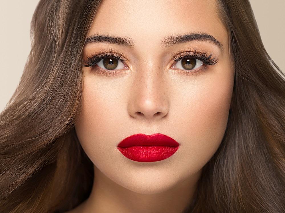 Beautiful woman brunette hair beauty close up macro healthy skin